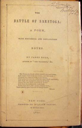 The Battle of Saratoga: A Poem, with Historical and Explanatory Notes