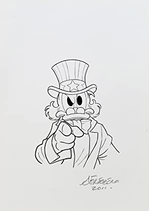 Uncle Scrooge as Uncle Sam - Original Cover Art by Andrea Freccero for Lustiges Taschenbuch Enten...