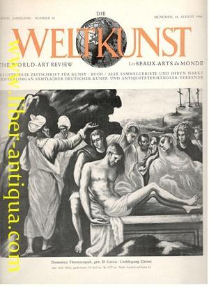Die Weltkunst Nr. 16/XXVIII. Jahrgang/15. August 1958