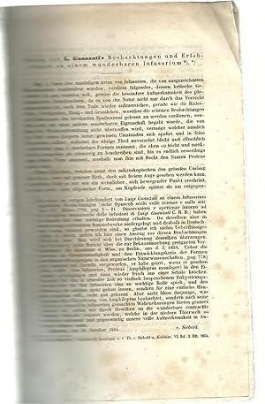 Auszug aus Luigi Guanzati's Beobachtungen und Erfahrungen an einem wunderbaren Infusorium: ...