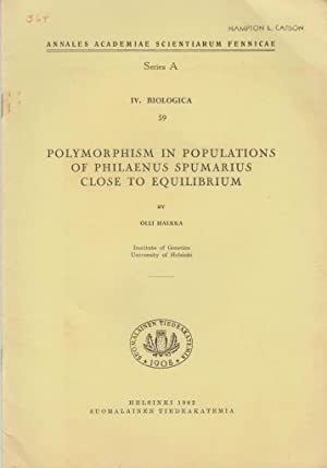 Polymorphism in Populations of Philaenus Spumarius Close to Equilibrium: Halkka, Olli