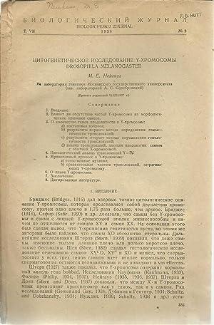 A Cyto-Genetic Study of the Y-Chromosome in Drosophila Melanogaster (mostly in Russian): Neuhaus, M...
