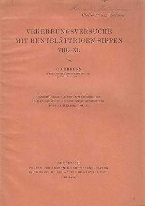 Vererbungsversuch mit buntblattrigen Sippen. VIII.-XI.: Correns, Carl