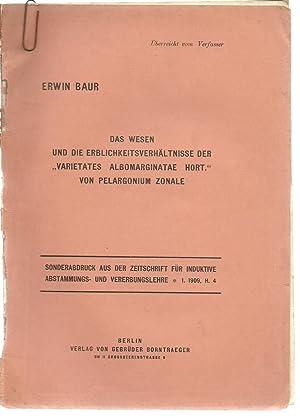 4 Erwin Baur offprints with envelope containing 7 original photographs of plants marked Baur: Baur,...