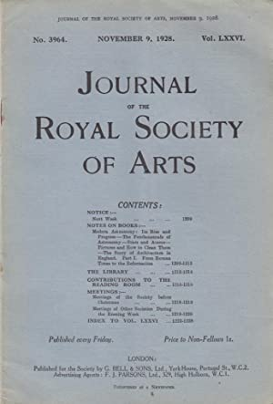 Journal of the Royal Society of Arts 25 issues from No. 3964 Nov. 9, 1928 through No. 3990 May 10, ...
