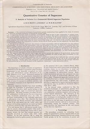 Quantitative Genetics of Sugarcane I. Analysis of: Brown, A.H.D., Daniels,
