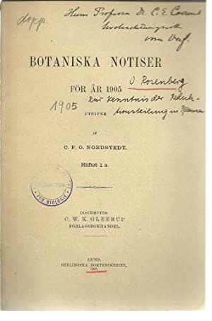 8 offprints O. Rosenberg 2 inscribed to Carl Correns: Rosenberg, O.
