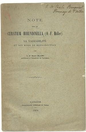 Note sur le ceratium hirundinella (O.-F. Mueller), sa variabilite? et son mode de reproduction: ...