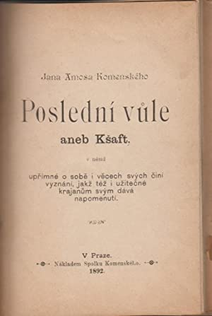Group of Antiquarian pamphlets bound together In Czech: Komenskeho, Jana Amosa; Kralicek, V.; ...