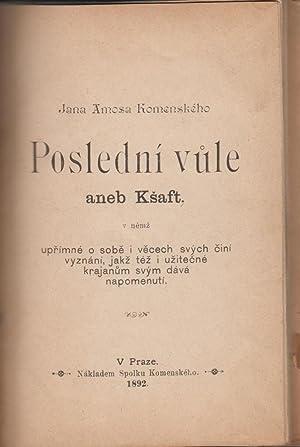 Group of Antiquarian pamphlets bound together In Czech: Komenskeho, Jana Amosa; Kralicek, V.; ...