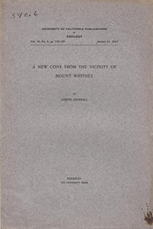A New Cony From the Vicinity of Mount Whitney: Grinnell, Joseph