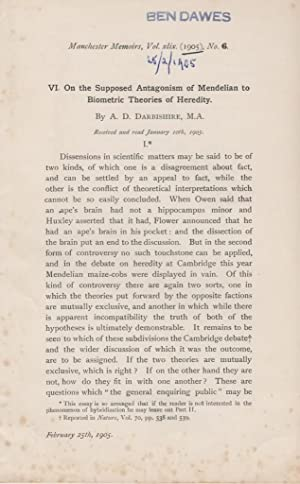 VI. On the Supposed Antagonism of Mendelian to Biometric Theories of Heredity: Darbishire, A.D.
