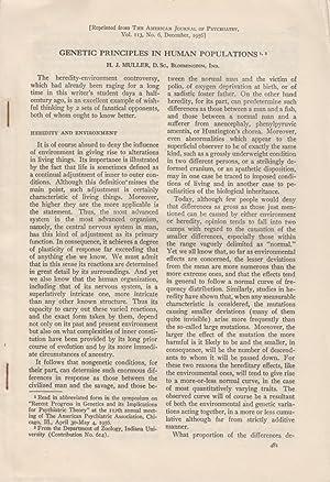 Genetic Principles in Human Populations: Muller, H.J.