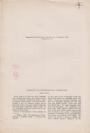 Comments on Evolutionary Literature: Mayr, Ernst