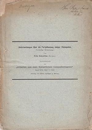 Untersuchungen uber die Fortpflanzung einiger Rhizopoden: Schaudinn, Fritz
