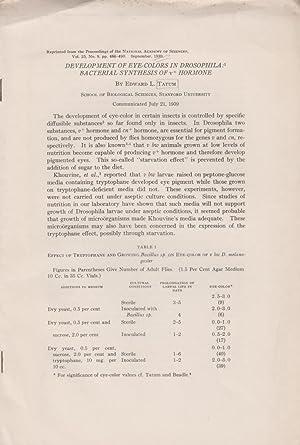 Development of Eye-Colors in Drosophila. Bacterial Synthesis of v+ Hormone: Tatum, Edward L.