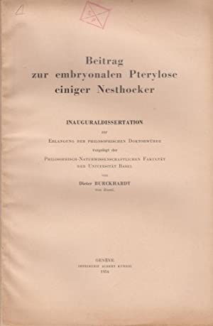 Beitrag zur embryonalen Pterylose eineger Nesthocker: Burckhardt, Dieter