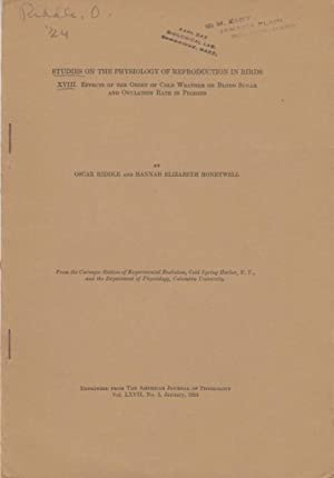 Studies On The Physiology Of Reproduction In Birds XVIII. Effects Of The Onset Of Cold Weather On ...