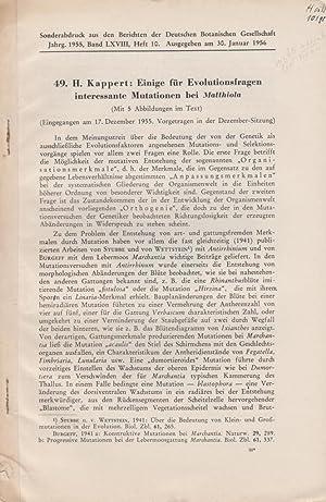 Einige fur Evolutionsfragen interessante Mutationen bei Matthiola: Kappert, H.