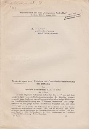 Bemerkungen zum Problem der Geschlechtsbestimmung bei Bonellia: Goldschmidt, Richard
