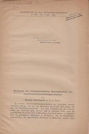 Nachweis der homogametischen Beschaffenheit von Geschlechtsumwandlungsweibchen: Goldschmidt, ...