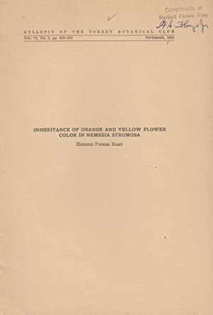 Inheritance of Orange and Yellow Flower Color in Nemesia Strumosa: Riley, Herbert Parkes