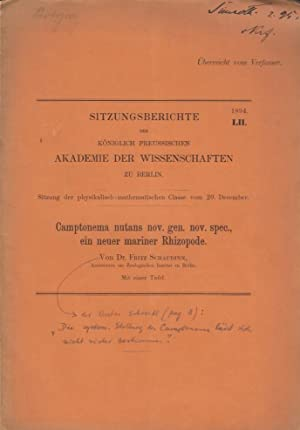 Camptonema nutans nov. gen. nov. spec., ein neuer mariner Rhizopode: Schaudinn, Fritz