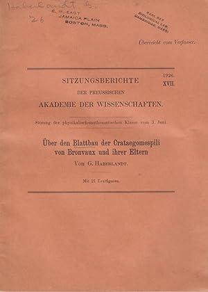 Uber den Blattbau der Crataegomespili von Bronvaux und ihrer Eltern: Haberlandt, G.