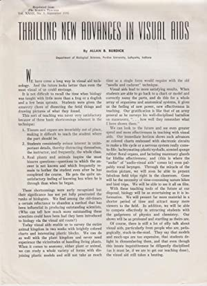 Thrilling New Advances in Visual Aids: Burdick, Allan B.