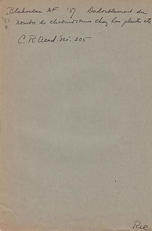 Deboublement du nombre de chromosomes chez les plantes par traitement chimique: Blakeslee, Albert F...