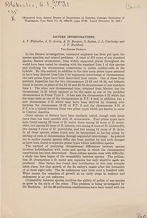 Datura Investigations: Blakeslee, A.F.; Avery, A.G.; Bergner, A.D.; Satina, S.; Cartledge, J.L.; ...