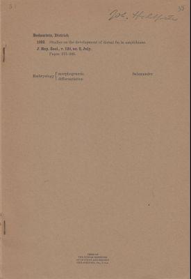 Studies on the Development of Dorsal Fin in Amphibians: Bodenstein, Dietrich