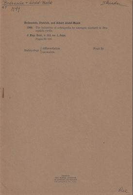 The Induction of Aristapedia by Nitrogen Mustard in Drosophila virilis: Bodenstein, Dietrich; ...
