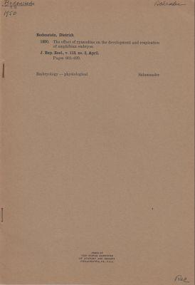 The Effect of Ryanodine on the Development and Respiration of Amphibian Embryos: Bodenstein, ...