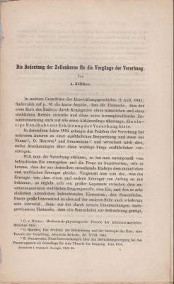 Die Bedeutung der Zellenkerne fur die Vorgange der Vererbung: Kolliker, Albert Rudolf Albert von ...