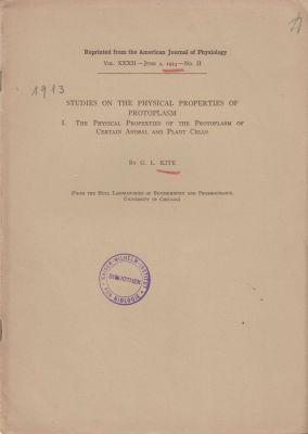 Studies on the Physical Properties of Protoplasm I. The Physical Properties of the Protoplasm of ...