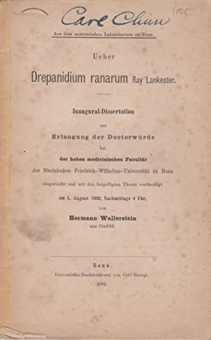 Ueber Drepanidium ranarum Ray Lankester: Wallerstein, Hermann