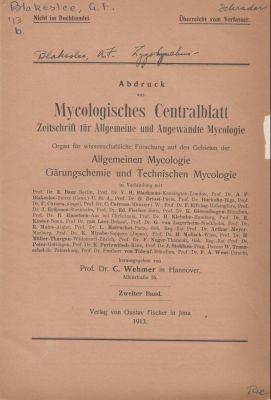 Conjugation in the heterogamic genus Zygorhynchus: Blakeslee, Albert F.