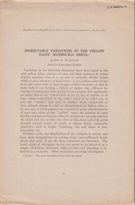 Inheritable Variations in the Yellow Daisy (Rudbeckia Hirta): Blakeslee, Albert F.