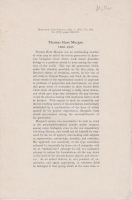 Thomas Hunt Morgan 1866-1945: Muller, H.J.