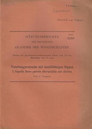 Vererbungsversuche mit buntblattrigen Sippen. I. Capsella Bursa pastoris albovariabilis und ...