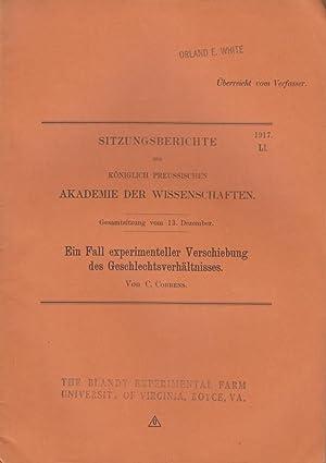 Ein Fall experimenteller Verschiebung des Geschlechtsverhaltnisses: Correns, C.