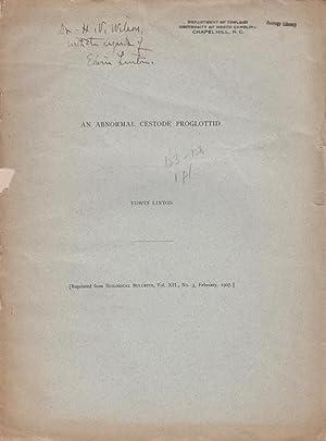 An Abnormal Cestode Proglottid: Linton, Edwin