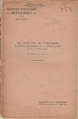 Les Amibocytes des Invertebres a L'Etat Quiescent et a L'Etat Actif: Faure-Fremiet, M.E.