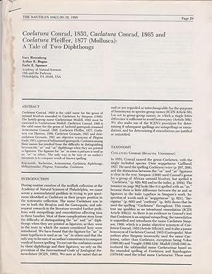 Coelatura Conrad, 1853, Caelatura Conrad, 1865 and Coelatura Pfeiffer, 1877 (Mollusca): A Tale of ...