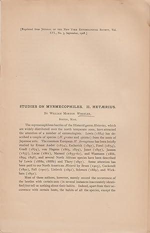 Studies on Myrmecophiles. II. Hetaerius: Wheeler, William Morton