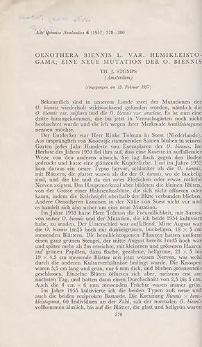 Oenothera Biennis L. Var. Hemikleistogama, eine Neue Mutation der O. Biennis: Stomps, Th. J.