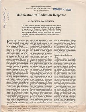 Modification of Radiation Response: Hollaender, Alexander
