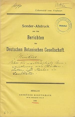 Ueber die nachtragliche Umwandlung von Bluthenblattern und Narben in Laubblatter: Winkler, Hans