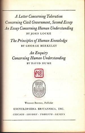 A Letter Concerning Toleration, Concerning Civil Government, An Essay Concerning Human ...